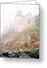 Bass Harbor In Fog - Vertical Greeting Card