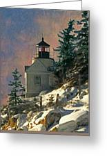 Bass Harbor Light In A Winter Storm Greeting Card