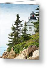Bass Harbor Light Station Overlooking The Bay Greeting Card