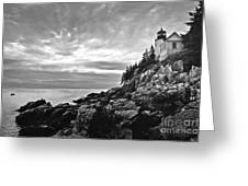 Bass Harbor Lighthouse At Dusk Greeting Card by Diane Diederich