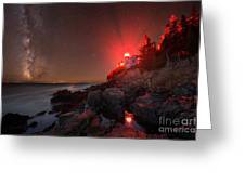 Bass Harbor Lighthouse Milky Way Greeting Card
