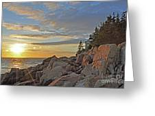 Bass Harbor Lighthouse Sunset Landscape Greeting Card