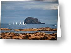 Bass Rock And Sail Boats Greeting Card