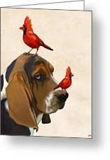 Basset Hound And Red Birds Greeting Card