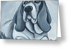 Basset Hound In Black And White Greeting Card