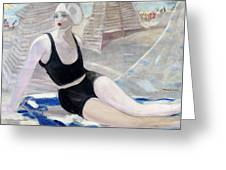 Bather In A Black Swimsuit Greeting Card
