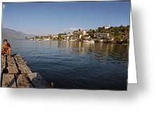 Bathing At Lake Atitlan Greeting Card
