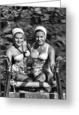 Bathing Beauties Black And White Greeting Card