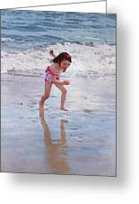Bathing Beauty Running Greeting Card