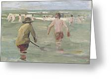 Bathing Boys With Crab Fisherman Greeting Card