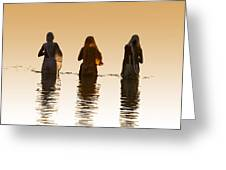 Bathing In The Holy River 2 Greeting Card