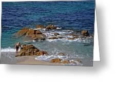 Bathing In The Sea - La Coruna Greeting Card