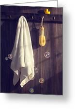 Bathroom Towel Greeting Card by Amanda Elwell