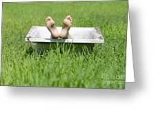 Bathtub And Feet Greeting Card