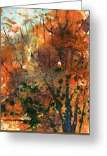 Batik Style/new England Fall-scape No.34 Greeting Card
