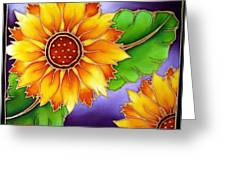 Batik Sunflower Greeting Card by Kat Poon