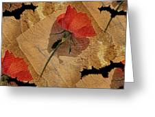 Bats And Roses Greeting Card