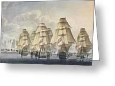 Battle Of Trafalgar Greeting Card by Robert Dodd