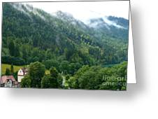 Bavarian Mountain Slope With Mist Greeting Card