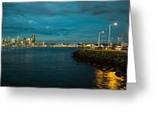 Bay And City At Night Greeting Card