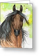 Bay Arabian Horse Watercolor Painting  Greeting Card