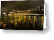 Bay Bridge And Clouds At Night Greeting Card