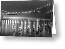 Bay Bridge Black And White Greeting Card