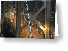 Bay Bridge Night Colors Greeting Card