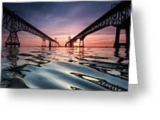 Bay Bridge Reflections Greeting Card by Jennifer Casey