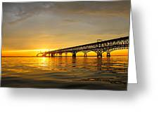 Bay Bridge Sunset Glow Greeting Card