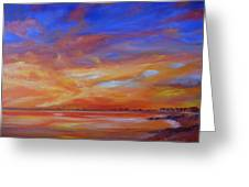 Bay Of Hythe On Fire Greeting Card