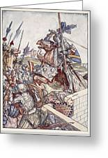 Bayard Defends The Bridge, Illustration Greeting Card