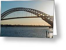 Bayonne Bridge Panoram Sunset Greeting Card