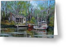 Bayou Shrimper Greeting Card by Dianne Parks