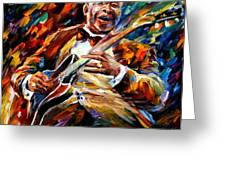 Bb King - Palette Knife Oil Painting On Canvas By Leonid Afremov Greeting Card