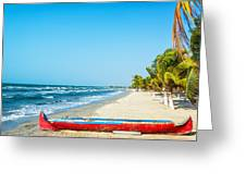 Beach And Red Canoe Greeting Card