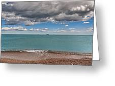 Beach And Ships. Greeting Card
