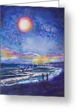 Beach At Night Greeting Card by Patricia Allingham Carlson