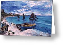 Beach At Sainte Adresse Monet Greeting Card