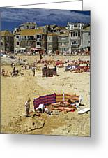 Beach At St Ives Cornwall Uk 1990 Greeting Card by David Davies