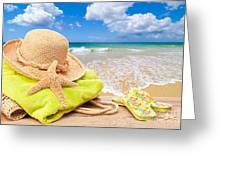 Beach Bag With Sun Hat Greeting Card