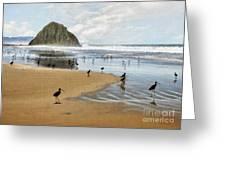 Beach Birds Impasto Greeting Card