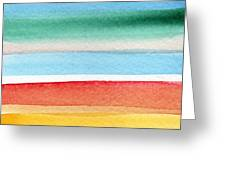 Beach Blanket- Colorful Abstract Painting Greeting Card by Linda Woods