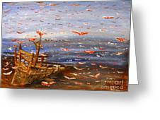 Beach Boat And Birds Greeting Card