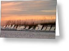 Beach Chairs At Dusk Greeting Card