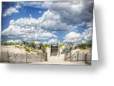 Beach Clouds And Fence Greeting Card