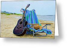 Beach Guitar Greeting Card