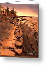 Beach House On Rocky Shore Greeting Card