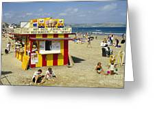 Beach Hut Greeting Card by David Davies