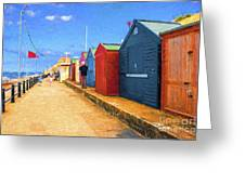 Beach Huts At Cromer Greeting Card